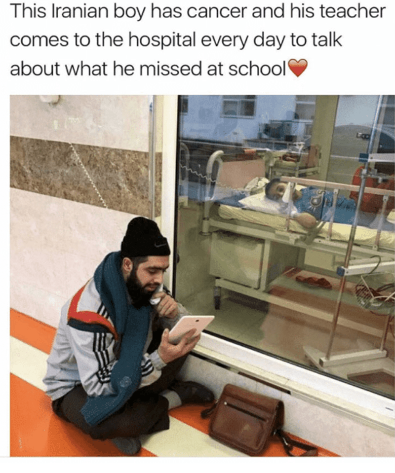 This Iranian boy has cancer and his teacher comes to the hospital every day to talk about what he missed at school