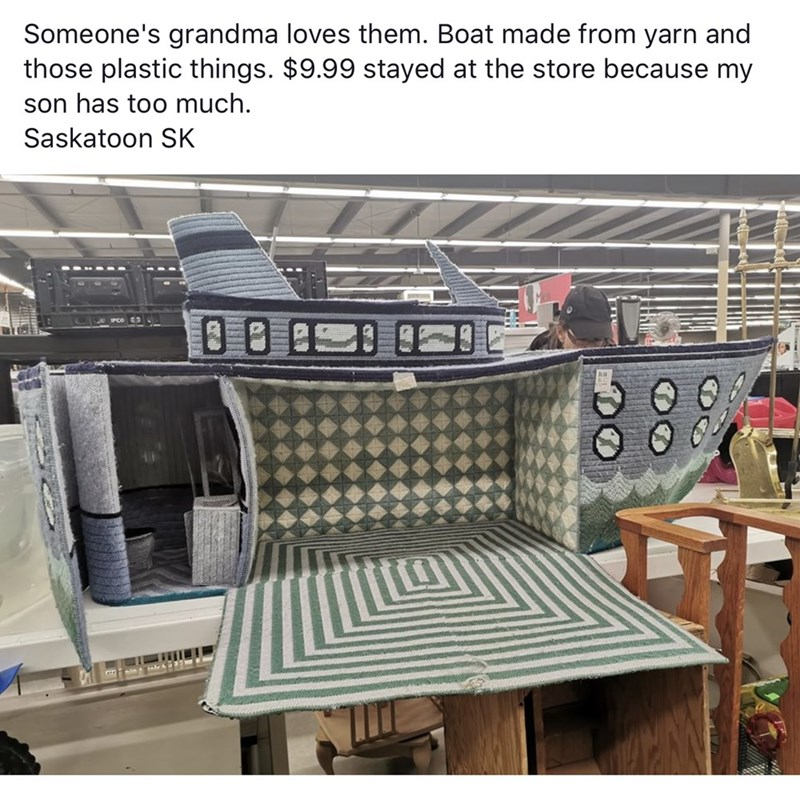 Furniture - Someone's grandma loves them. Boat made from yarn and those plastic things. $9.99 stayed at the store because my son has too much Saskatoon SK
