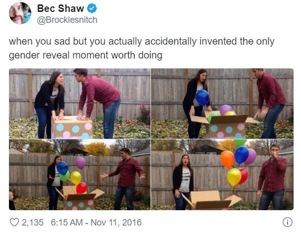Community - Bec Shaw @Brocklesnitch when you sad but you actually accidentally invented the only gender reveal moment worth doing 2,135 6:15 AM - Nov 11, 2016