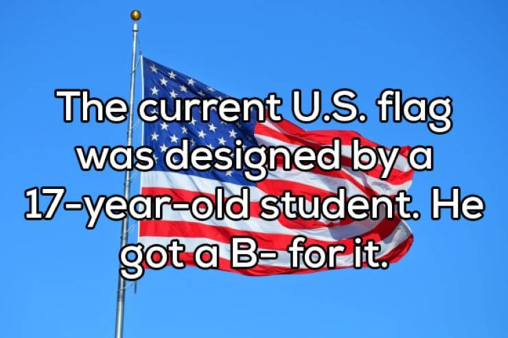 Flag - The current U.S. flag was designed bya 17-year-old student. He got a B- for it