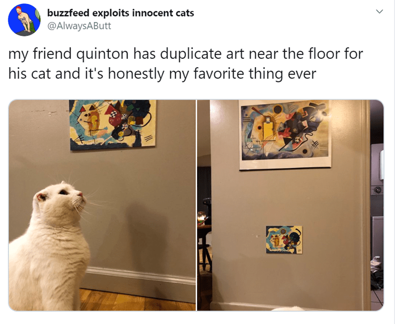 Adaptation - buzzfeed exploits innocent cats @AlwaysAButt my friend quinton has duplicate art near the floor for his cat and it's honestly my favorite thing ever