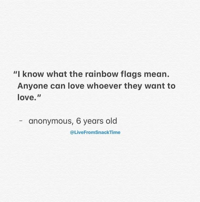 "Text - ""I know what the rainbow flags mean. Anyone can love whoever they want to love."" anonymous, 6 years old @LiveFromSnackTime"