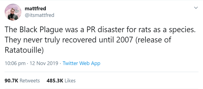 Text - mattfred @itsmattfred The Black Plague was a PR disaster for rats as a species. They never truly recovered until 2007 (release of Ratatouille) 10:06 pm 12 Nov 2019 Twitter Web App 485.3K Likes 90.7K Retweets