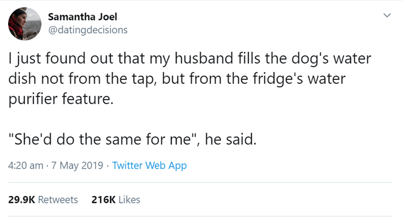 "Text - Samantha Joel @datingdecisions I just found out that my husband fills the dog's water dish not from the tap, but from the fridge's water purifier feature. ""She'd do the same for me"", he said. 4:20 am 7 May 2019 Twitter Web App 29.9K Retweets 216K Likes"