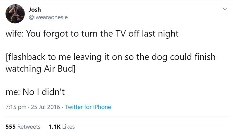 Text - Josh @iwearaonesie wife: You forgot to turn the TV off last night [flashback to me leaving it on so the dog could finish watching Air Bud] ne: No I didn't 7:15 pm 25 Jul 2016 Twitter for iPhone 1.1K Likes 555 Retweets