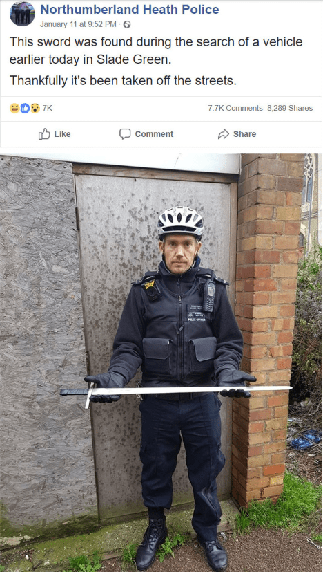 Workwear - Northumberland Heath Police January 11 at 9.52 PM This sword was found during the search of a vehicle earlier today in Slade Green. Thankfully it's been taken off the streets 7K 7.7K Comments 8,289 Shares Like Share Comment