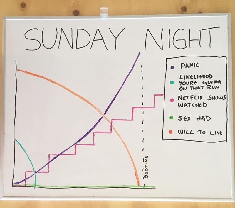 Text - Text - SUNDAY NIGHT PANIC LIKELIHOOD YouRE GOING ON THAT RUN NETFLIK SHOWS WATCHED SEx HAD WILL TO LIVE BEDTIME