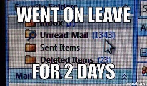 Text - WENT ON LEAVE DOX A o Unread Mail (1343) Sent Items Deleted Items (231 MaiFOR 2 DAYS A mematCnet