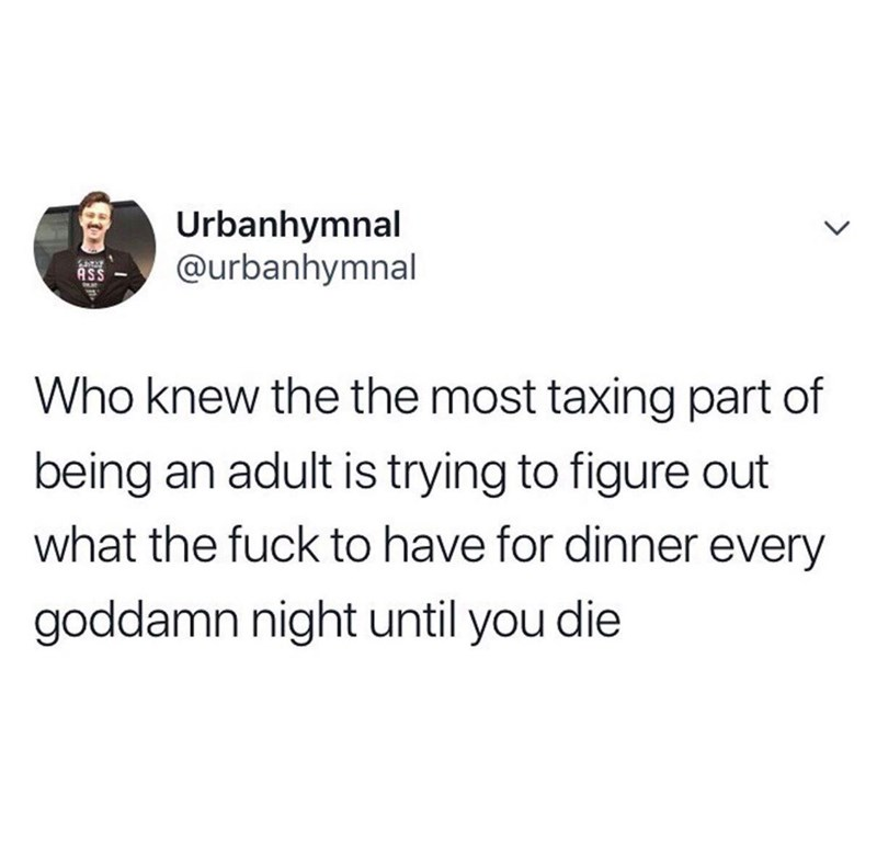 Text - Urbanhymnal @urbanhymnal ASS a Who knew the the most taxing part of being an adult is trying to figure out what the fuck to have for dinner every goddamn night until you die Ho