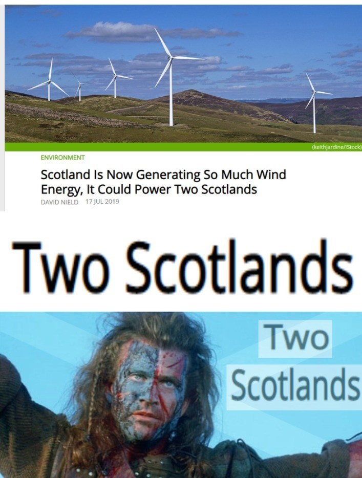 Wind - (keithjardine/iStock) ENVIRONMENT Scotland Is Now Generating So Much Wind Energy, It Could Power Two Scotlands DAVID NIELD 17JUL 2019 Two Scotlands Two Scotlands