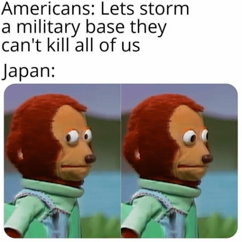 Animated cartoon - Americans: Lets storm a military base they can't kill all of us Japan: