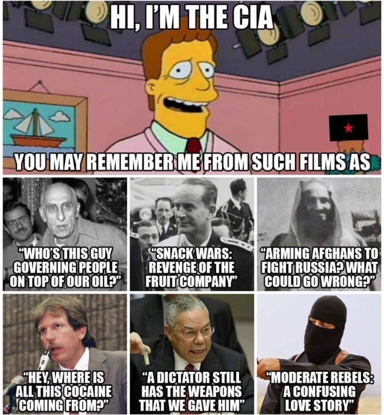 """Internet meme - HI, I'M THE CIA YOU MAY REMEMBER ME FROM SUCH FILMS AS SNACK WARS: REVENGE OF THE FRUIT COMPANY"""" ARMING AFGHANS TO FIGHTRUSSIA?WHAT COULD GO WRONG?"""" """"WHO'S THIS GUY GOVERNING PEOPLE ON TOP OF OUR OILP HEY,WHERE IS ALL THISCOCAINE COMING FROM?"""" """"A DICTATOR STILL HAS THE WEAPONS THAT WE GAVE HIM"""" MODERATE REBELS: A CONFUSING LOVE STORY"""""""