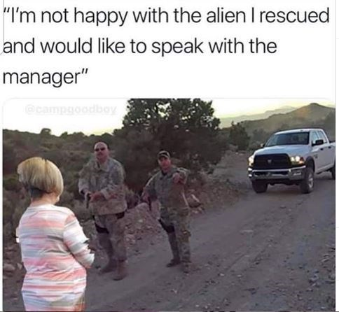 "Motor vehicle - ""I'm not happy with the alien I rescued and would like to speak with the manager"" @campgoodboy"