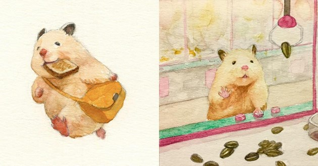 cute hamster art illustration