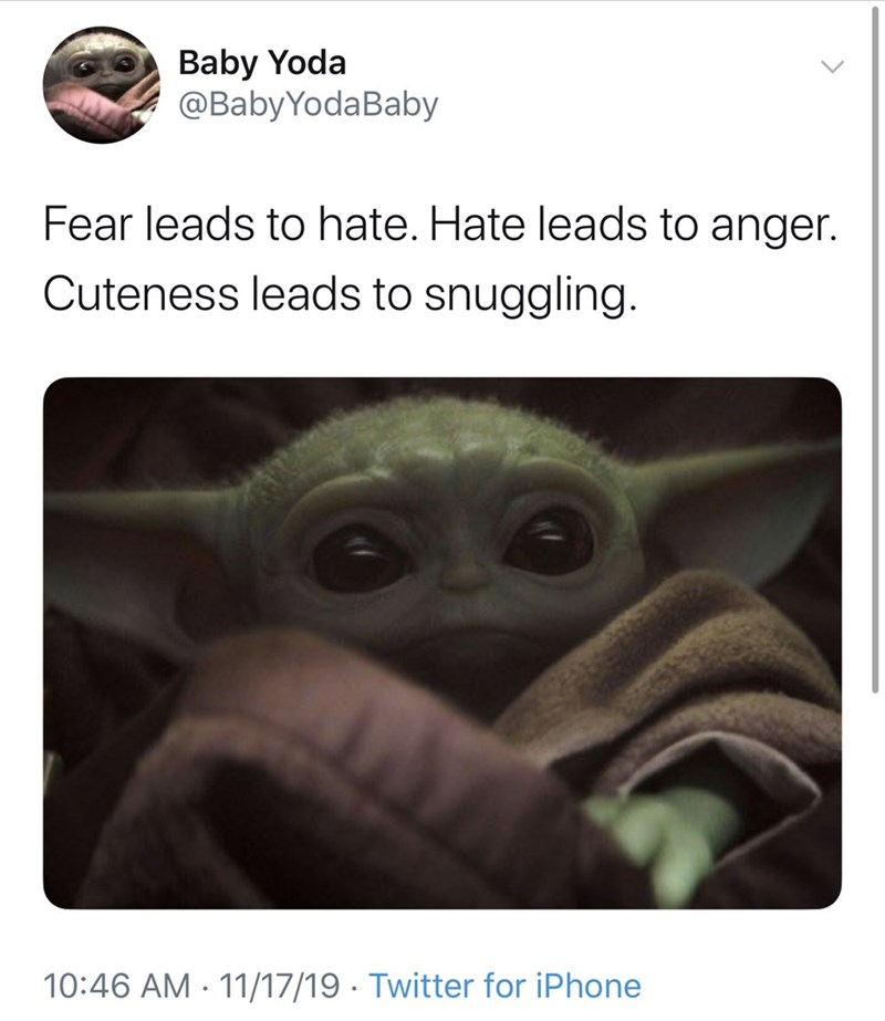 Text - Baby Yoda @BabyYodaBaby Fear leads to hate. Hate leads to anger. Cuteness leads to snuggling. 10:46 AM 11/17/19 Twitter for iPhone