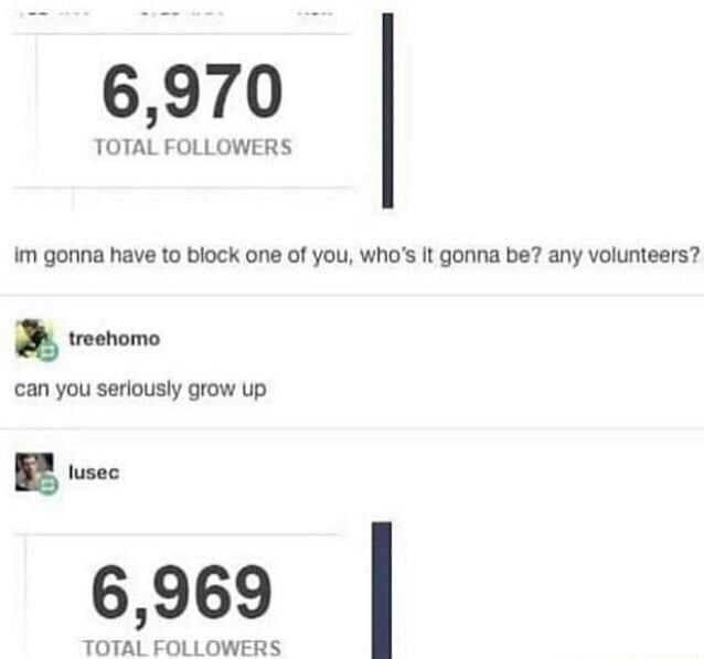Text - 6,970 TOTAL FOLLOWERS im gonna have to block one of you, who's it gonna be? any volunteers? treehomo can you seriously grow up lusec 6,969 TOTAL FOLLOWERS