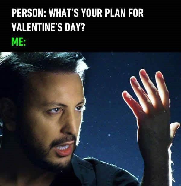 Human - PERSON: WHAT'S YOUR PLAN FOR VALENTINE'S DAY? ME: