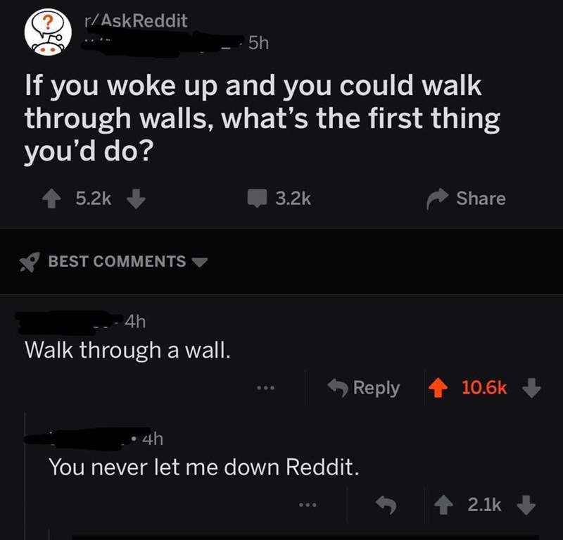 Text - r/AskReddit 5h up and you ke If you wo through walls, what's the first thing you'd do? could walk 5.2k 3.2k Share BEST COMMENTS 4h Walk througha wall. Reply 10.6k 4h You never let me down Reddit. 2.1k