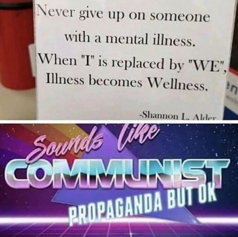 """Text - Never give up on someone with a mental illness. When """"I"""" is replaced by """"WE"""", n Illness becomes Wellness. Shannon L. Alder Sourde Vine COMMUNIST PROPAGANDA BUT OK"""