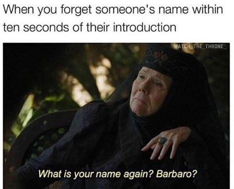 Text - When you forget someone's name within ten seconds of their introduction HATCH THE THRONE What is your name again? Barbaro?