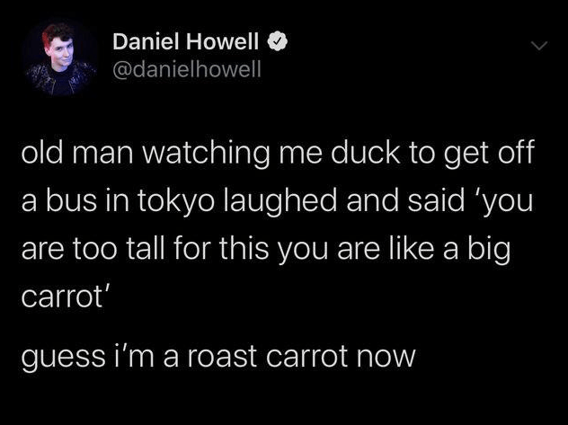 Text - Daniel Howell @danielhowell old man watching me duck to get off bus in tokyo laughed and said 'you are too tall for this you are like a big carrot' guess i'm a roast carrot now