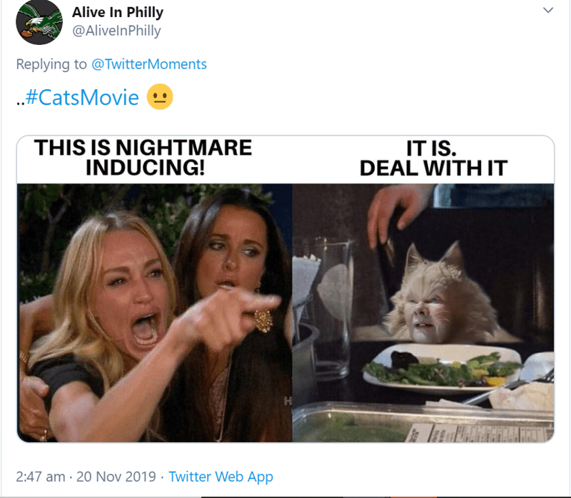 Cat - Alive In Philly @AlivelnPhilly Replying to @TwitterMoments .#CatsMovie THIS IS NIGHTMARE INDUCING! IT IS. DEAL WITH IT H Twitter Web App 2:47 am 20 Nov 2019