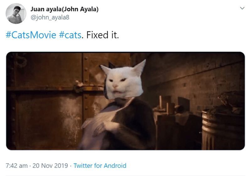 Cat - Juan ayala(John Ayala) @john_ayala8 #CatsMovie #cats. Fixed it. Twitter for Android 7:42 am 20 Nov 2019