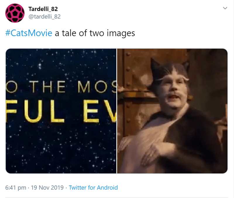 Text - Tardelli_82 @tardelli_82 #CatsMovie a tale of two images THE MOS FUL EV 6:41 pm 19 Nov 2019 Twitter for Android