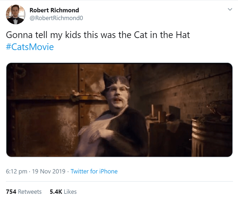 Text - Robert Richmond @RobertRichmond0 Gonna tell my kids this was the Cat in the Hat #CatsMovie 6:12 pm 19 Nov 2019 Twitter for iPhone 5.4K Likes 754 Retweets