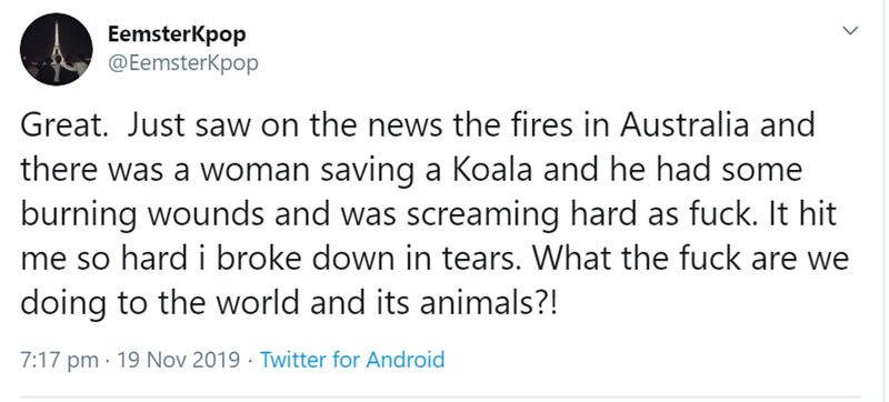 Text - EemsterKpop @EemsterKpop Great. Just saw on the news the fires in Australia and there was a woman saving a Koala and he had some burning wounds and was screaming hard as fuck. It hit me so hard i broke down in tears. What the fuck are we doing to the world and its animals?! 7:17 pm 19 Nov 2019 Twitter for Android