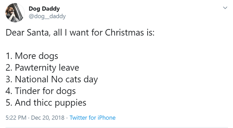Text - Dog Daddy @dog_daddy Dear Santa, all I want for Christmas is: 1. More dogs 2. Pawternity leave 3. National No cats day 4. Tinder for dogs 5. And thicc puppies 5:22 PM Dec 20, 2018 Twitter for iPhone