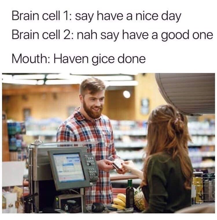 Product - Brain cell 1: say have a nice day Brain cell 2: nah say have a good one Mouth: Haven gice done