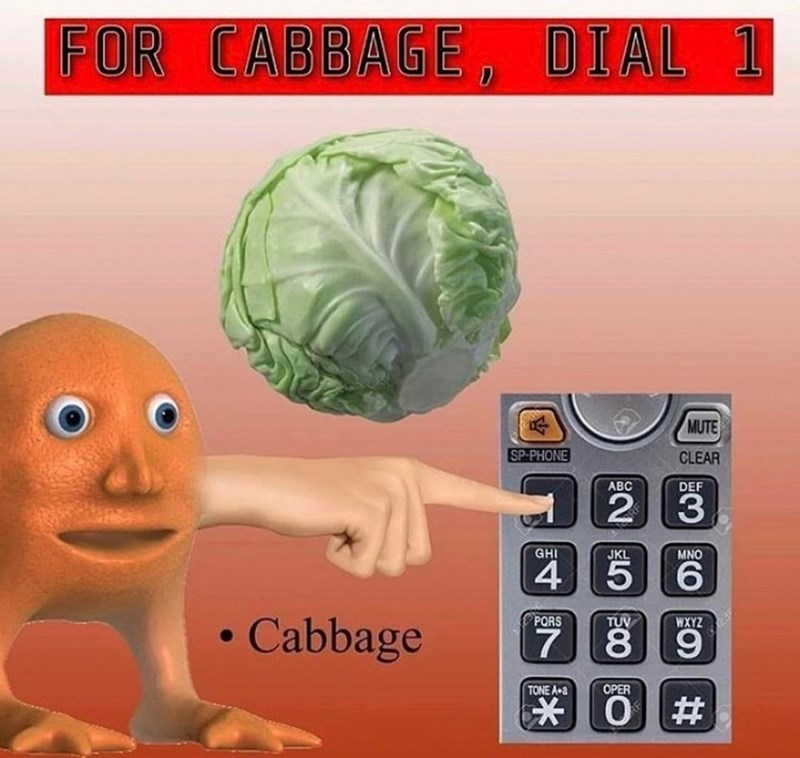 Games - FOR CABBAGE, DIAL 1 MUTE SP-PHONE CLEAR ABC DEF 2 3 GHI MNO JKL 4 5 PORS TUV WXYZ Cabbage 9 TONE A a OPER O #