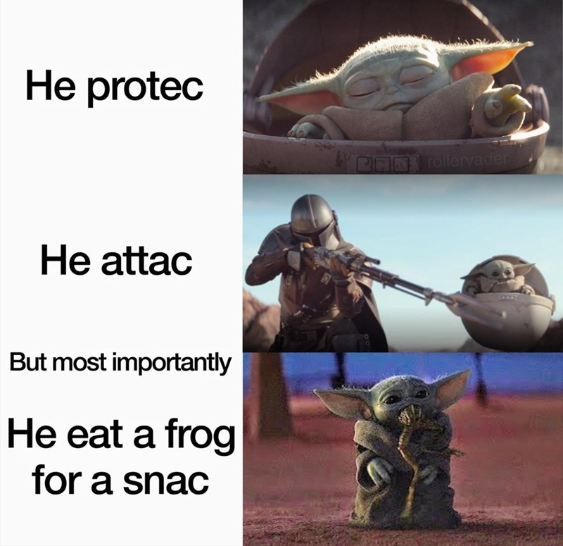 Adaptation - He protec ON rollervader He attac But most importantly He eat a frog for a snac