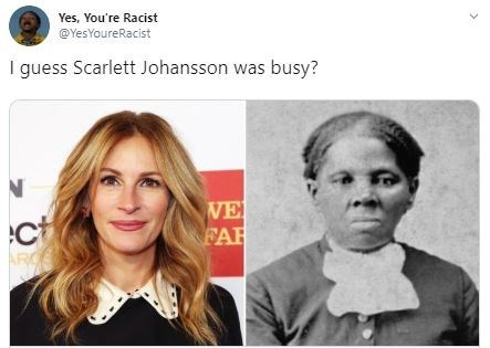 Face - Yes, You're Racist @YesYoureRacist I guess Scarlett Johansson was busy? WE FAR ct >
