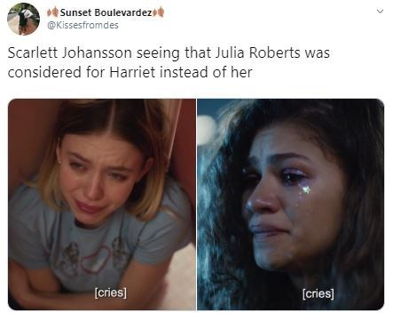Face - Sunset Boulevardez @Kissesfromdes Scarlett Johansson seeing that Julia Roberts was considered for Harriet instead of her [cries] [cries]