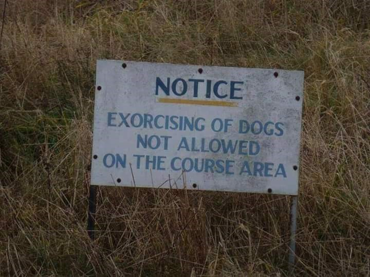 Text - NTICE EXORCISING OF DOGS NOT ALLOWED ON THE COURSE AREA