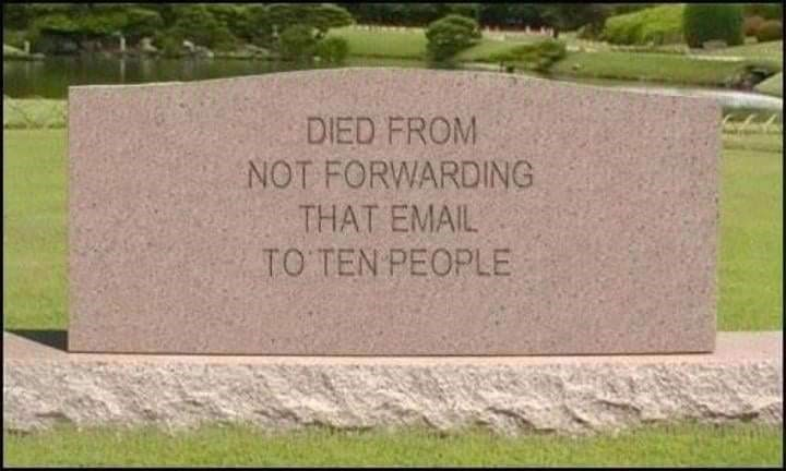Headstone - DIED FROM NOT FORWARDING THAT EMAIL TO TEN PEOPLE