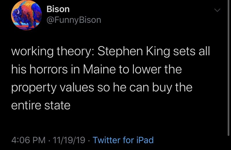 Text - Bison @FunnyBison working theory: Stephen King sets all his horrors in Maine to lower the property values so he can buy the entire state 4:06 PM 11/19/19 Twitter for iPad
