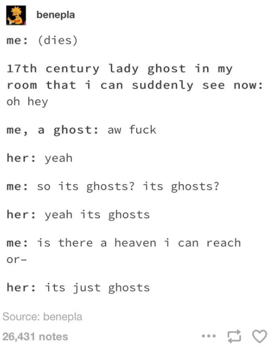 Text - benepla me: (dies) 17th century lady ghost in my room that i can suddenly see now : oh hey me, a ghost: aw fuck her: yeah me: so its ghosts? its ghosts? her: yeah its ghosts me: is there a heaven i can reach or- her: its just ghosts Source: benepla 26,431 notes