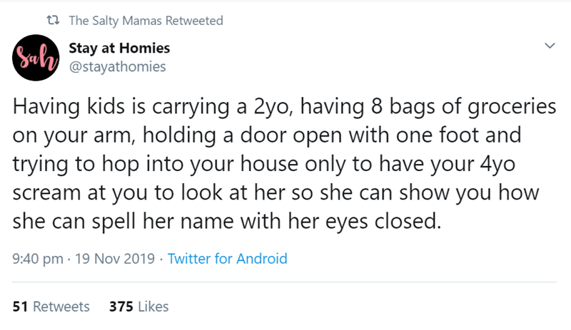 Text - t The Salty Mamas Retweeted Sul Stay at Homies @stayathomies Having kids is carrying a 2yo, having 8 bags of groceries on your arm, holding a door open with one foot and trying to hop into your house only to have your 4yo scream at you to look at her so she can show you how she can spell her name with her eyes closed. 9:40 pm 19 Nov 2019 Twitter for Android 375 Likes 51 Retweets