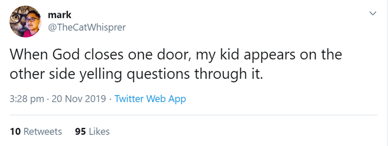 Text - mark @TheCatWhisprer When God closes one door, my kid appears on the other side yelling questions through it. 3:28 pm 20 Nov 2019 Twitter Web App 95 Likes 10 Retweets
