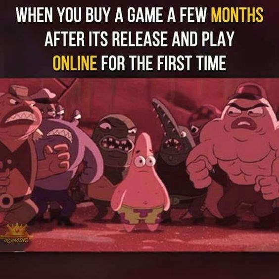 Animated cartoon - WHEN YOU BUY A GAME A FEW MONTHS AFTER ITS RELEASE AND PLAY ONLINE FOR THE FIRST TIME 80AMING