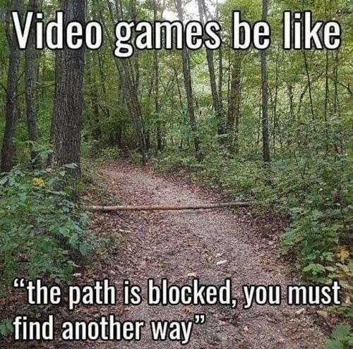 "Natural landscape - Video games be like ""the path is blocked, you must find another way"