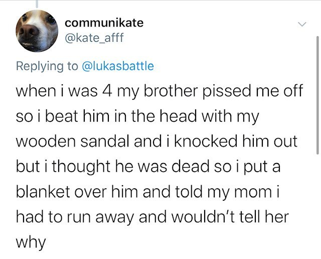 Text - communikate @kate_afff Replying to @lukasbattle when i was 4 my brother pissed me off so i beat him in the head with my wooden sandal and i knocked him out but i thought he was dead so i put a blanket over him and told my mom i had to run away and wouldn't tell her why
