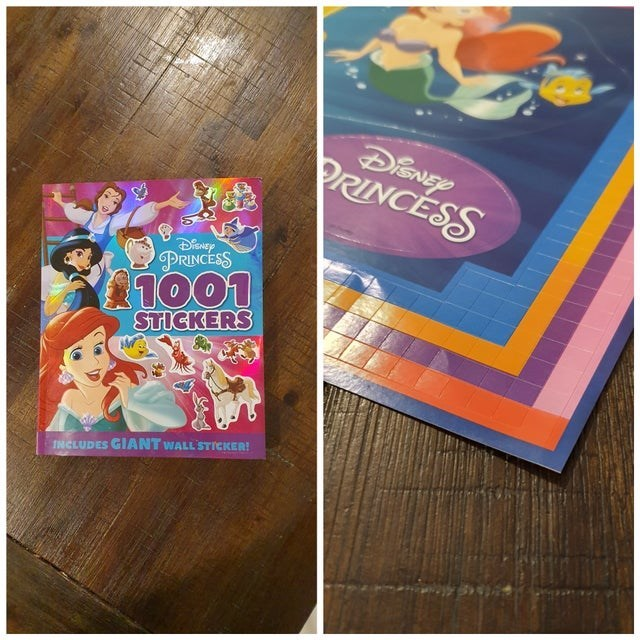 Text - DieNEY PRINCESS PRINCESS 1001 STICKERS INCLUDES GIANT WALL STICKER!