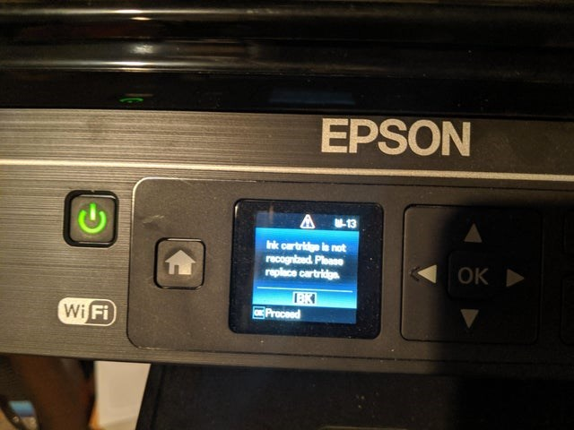 Technology - EPSON A 13 Ink cartridge is not recogntzed Ploase replace cartridge ОК > Proceed Wi Fi