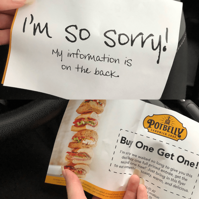 """Food - Son IM so somy My information is on the back (РОТBELЦУ) SANDWICH SHOP Buy One Get One! I'm sory we waited so I deal Buy cd one free!"""" Just bring in this flyer long to give you this one full priced entrée, get the toasty, warm, and delicious. I to eat somethi L ALID AT Location St G5 sandwich, foll size salad or bowlofst oion only 1 per customer per et de Entree nc"""