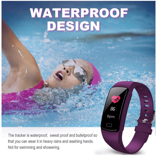Product - WATERPROOF DESIGN 86 bpm The tracker is waterproof, sweat proof and bulletproof so that you can wear it in heavy rains and washing hands. Not for swimming and showering.