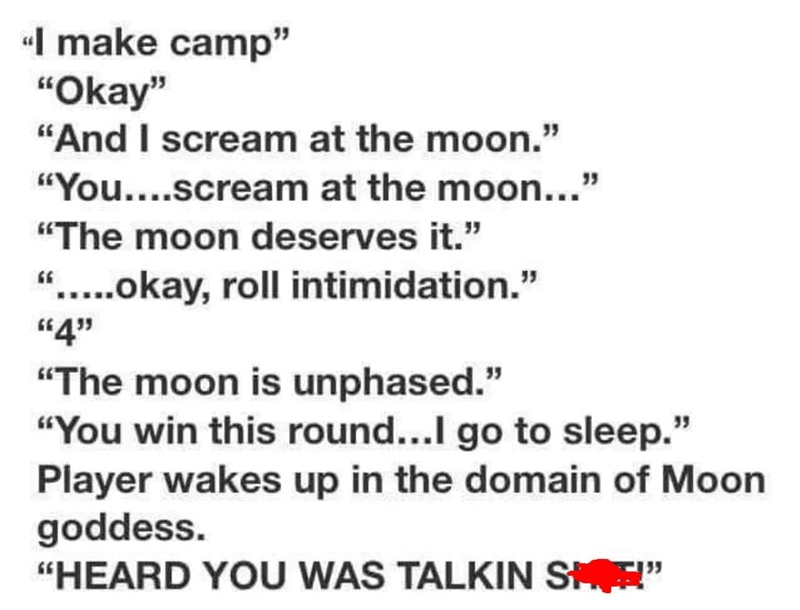 "Text - I make camp"" ""Okay"" ""And I scream at the moon."" ""You....scream at the moon...' ""The moon deserves it."" ""....okay, roll intimidation."" ""4'"" ""The moon is unphased."" ""You win this round...I go to sleep."" Player wakes up in the domain of Moon goddess. ""HEARD YOU WAS TALKIN S """